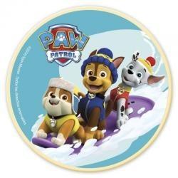 Jedlý obrázok Paw Patrol na snehu kruh