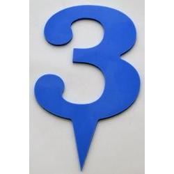 Narodeninové číslo 3 modré