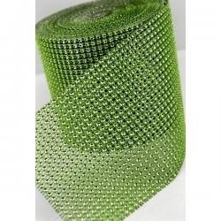 Štrasová stuha zelená
