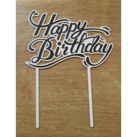Zápich Happy Birthday čierny