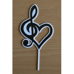 Zápich husľový kľúč a srdce