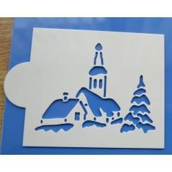 Stencil vianočná dedinka