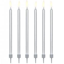 Sviečky dlhé strieborné