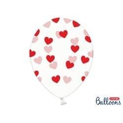 Balón srdiečka číry
